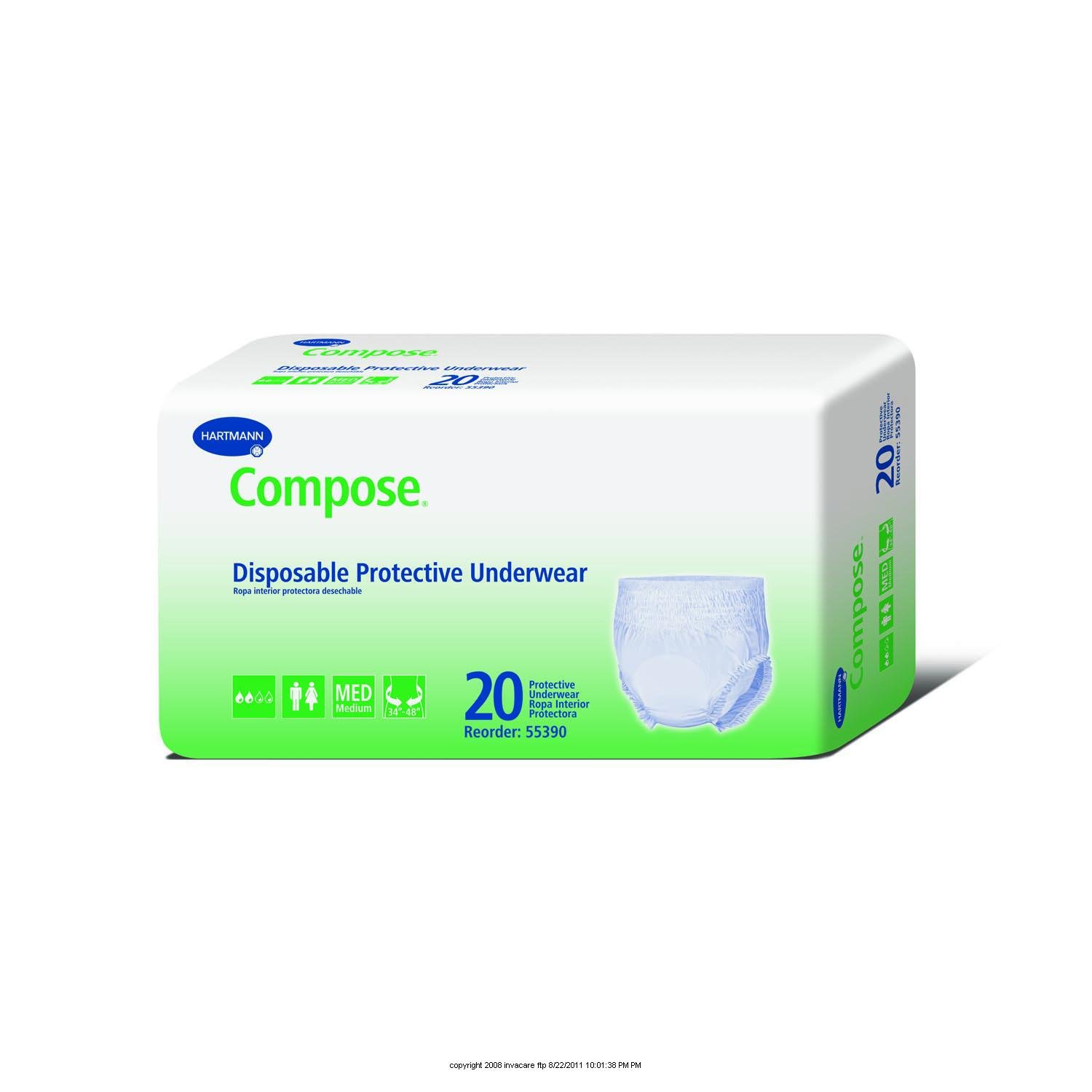 Amazon.com: Compose Disposable Protective Underwear For Moderate Protection-(1 CASE, 80 EACH): Health & Personal Care