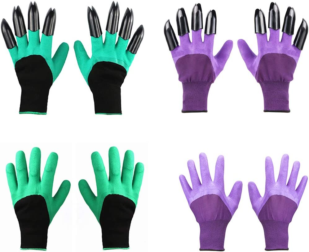 Garden Genie Gloves with Claws(2019 Upgrade), Waterproof and Breathable Garden Gloves for Digging Planting, Best Gardening Gifts for Women and Men (Purple 2 Pairs and Green 2 Pairs)