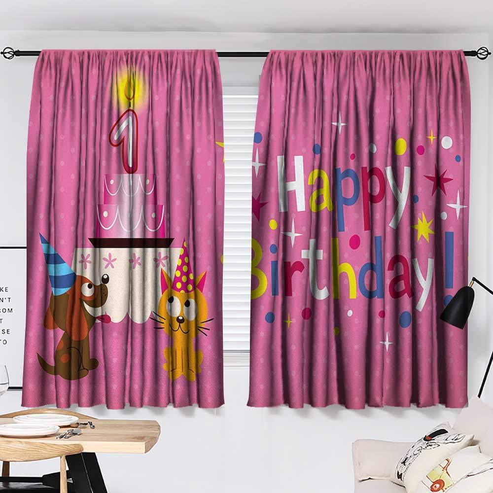Jinguizi 1st Birthday Curtain Doorway Animal Party with Sweet Cat and Dog on Pink Color Polka Dot Abstract Backdrop Window Darkening Curtains Multicolor W55 x L39 by Jinguizi (Image #2)