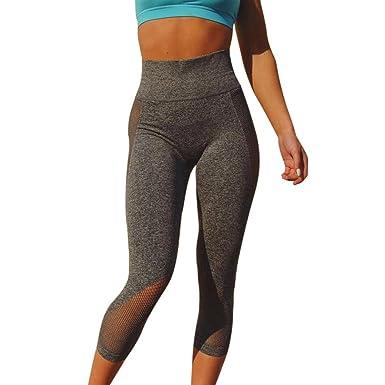 9a92b2bc1cc2ec Halijack Women's Sports Gym Leggings Yoga Pants Fashion Mesh Patchwork  Calf-Length Pants High Waist