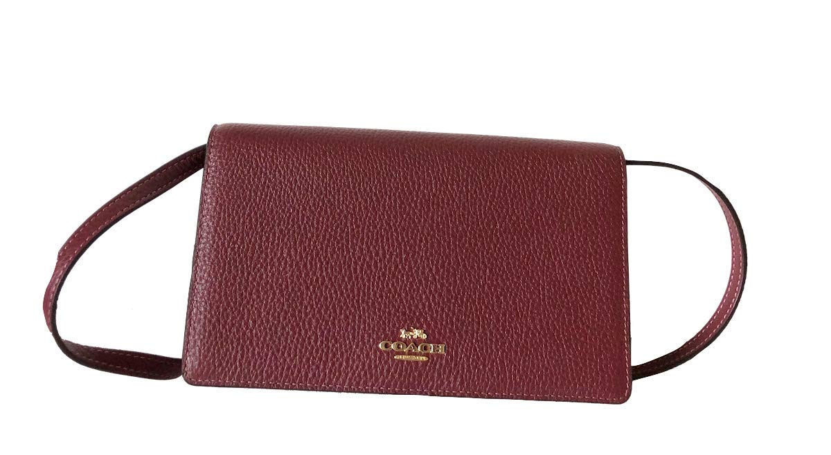 Coach Foldover Clutch Wallet Pebbled Leather Crossbody Bag (Wine)