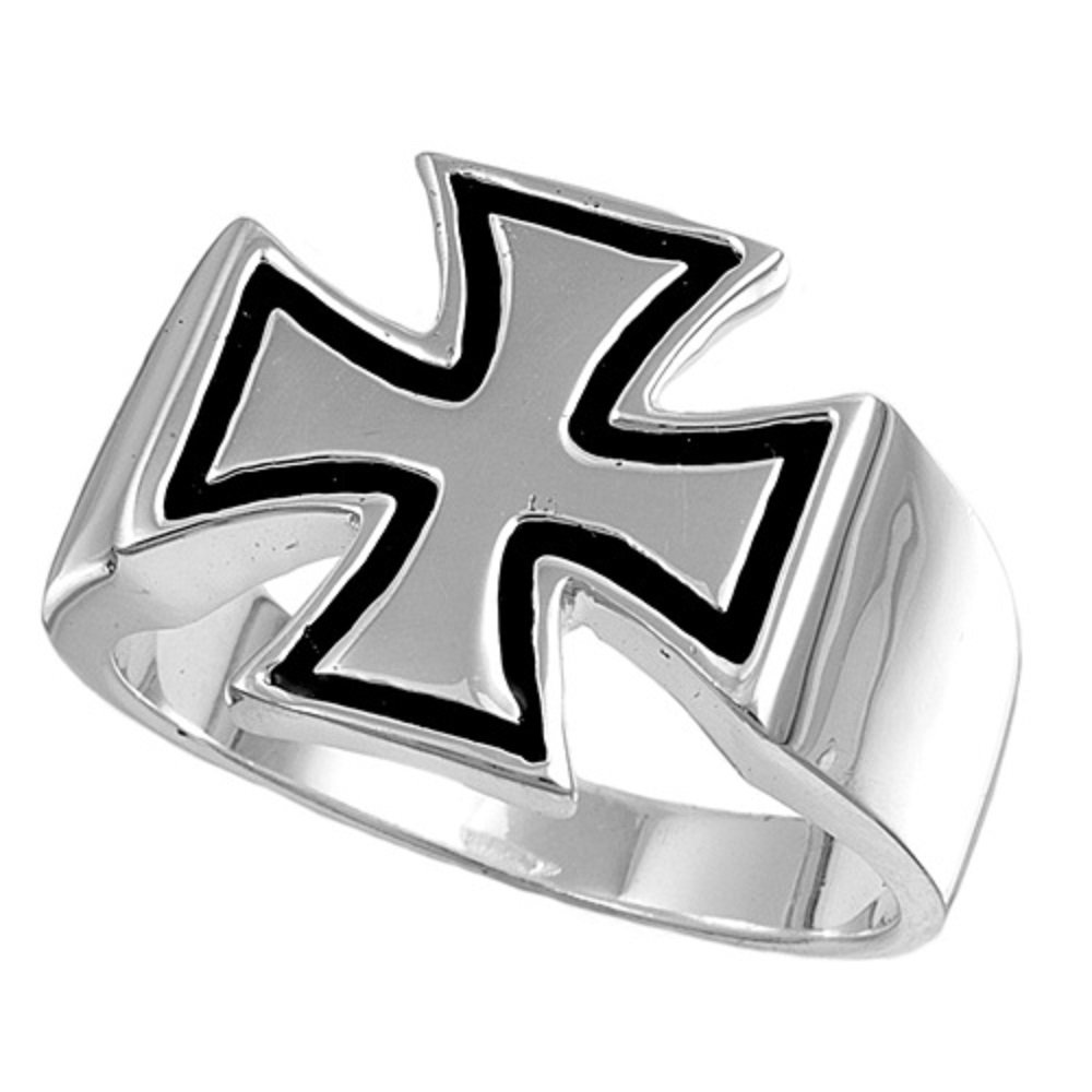 CloseoutWarehouse Iron Cross Hercules Ring Sterling Silver 925