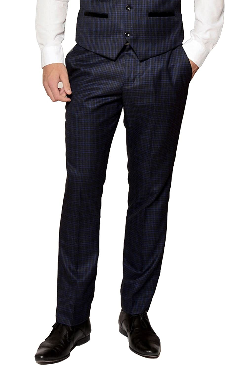 Mens Marc Darcy Designer Navy Check Suit Trouser Work Wedding Size 28-46 Available