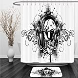 Vipsung Shower Curtain And Ground MatTattoo Decor Mexican Sugar Skull Ceremony Ritual Folkloric Design Gates of Heaven Theme Art Red BrownShower Curtain Set with Bath Mats Rugs