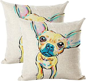 """INSHERE Cute Pet Chihuahua Dog Pattern Pack of 2 Throw Pillow Covers Cotton Linen Cushion Cover Pillowcases Sofa Home Decor 18""""x 18"""" (Dog 5)"""