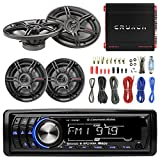 "MP3 Bluetooth Stereo Receiver Bundle Combo With 2x Crunch 6.5"" Inch & 2 x 6x9 3-Way Black Coaxial Speaker + Autotek TA10504 Amp + Enrock Amp Install Kit"