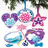 Baker Ross Snowflake Decoration Sewing Kits for Children to Decorate and Display for Christmas - Make Your Own Creative Toy for Kids (Pack of 3)