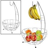 Obstkorb mit Bananenhaken Bananenhalter Obstschale Fruchtkorb Gemüsekorb Korb