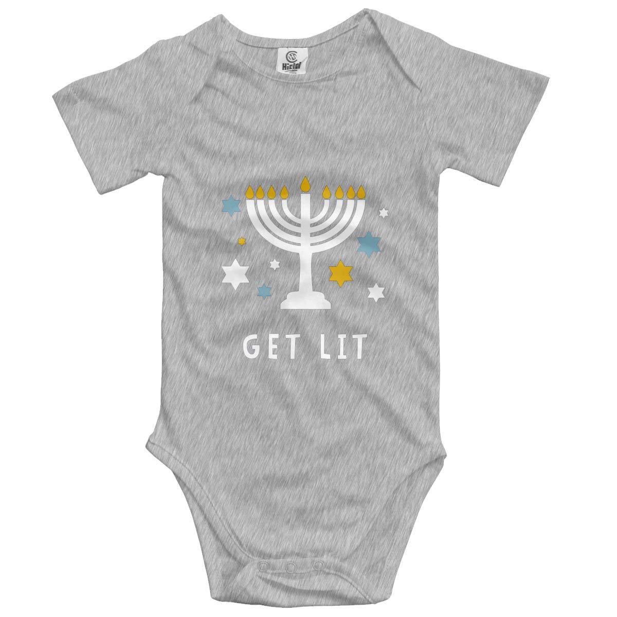 Nanagang Get Lit Babies Short Sleeves Baby Onesies Breathable Gray
