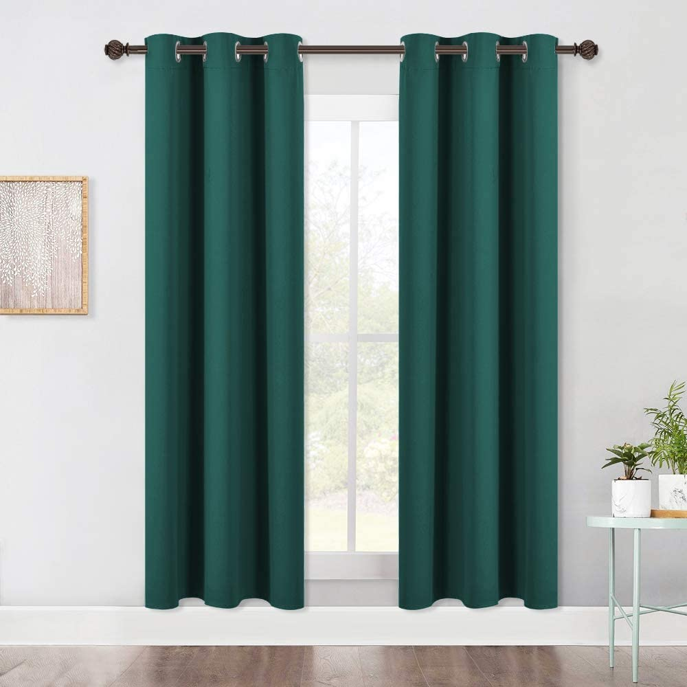 NICETOWN Living Room Blackout Window Curtains, Thermal Insulated Solid Grommet Blackout Drapery Panels (Hunter Green, One Pair,42 by 72-Inch)