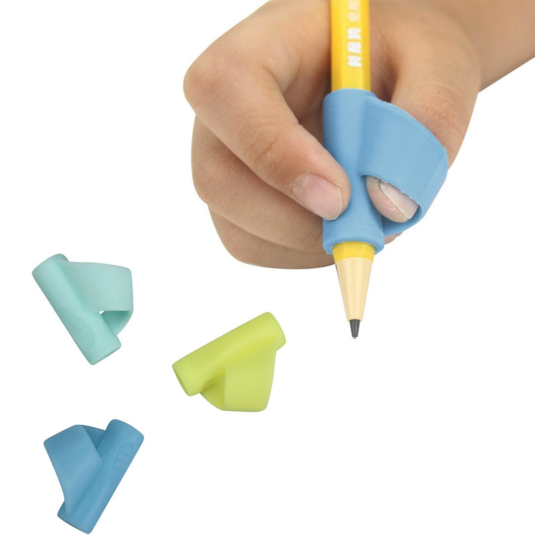 Icocol Boutique Pencil Grip Original Universal Ergonomic Writing Aid for Righties and Lefties, 3 Count, Assorted Colors (B)