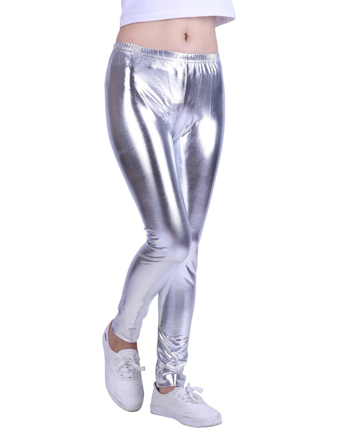 HDE Girls Shiny Wet Look Leggings Kids Liquid Metallic Footless Tights (4T-12) (Silver, 4/5)