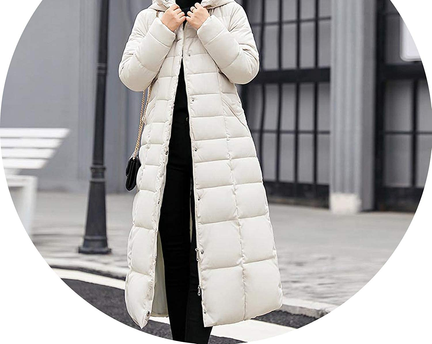White no Fur collar Fur Collar Hooded Zippers Long Down Coat Women Jacket Warm Winter Jacket