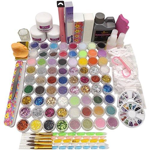 (Warm Girl Colored Acrylic Powder Liquid Nail Tips Brushes Rhinestones Ball Buffer File Glue Cutter Hexagon Glitter Nail Art Design Tool)