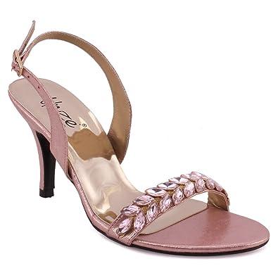"""7dea428f6 Unze Women """"Celina"""" Sling Back Formal Stiletto Heel Open Toe Evening  Embellished Toe Strap"""