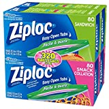 Ziploc Sandwich & Snack Bags with Easy Open Tabs, 320 Bag Value Pack (160 count Sandwich bags and 160 count Snack bags)