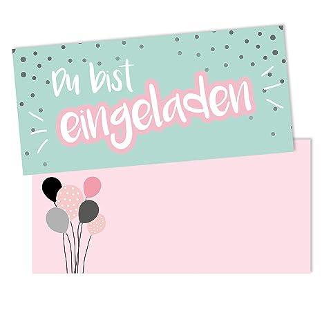 15 biglietti d'invito con la scritta in tedesco
