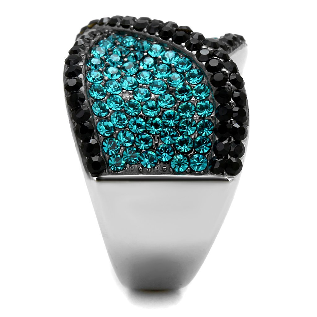 Womens Two Tone Ion Plated Stainless Steel Black Blue Crystals Cocktail Ring