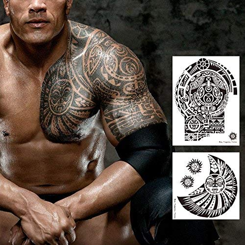 Leoars Extra Large Temporary Tattoo Similar The Rock Arm Chest Big Totem Body Tattoos Sticker For Men Women Makeup Waterproof Fake Tattoo 2 Sheet