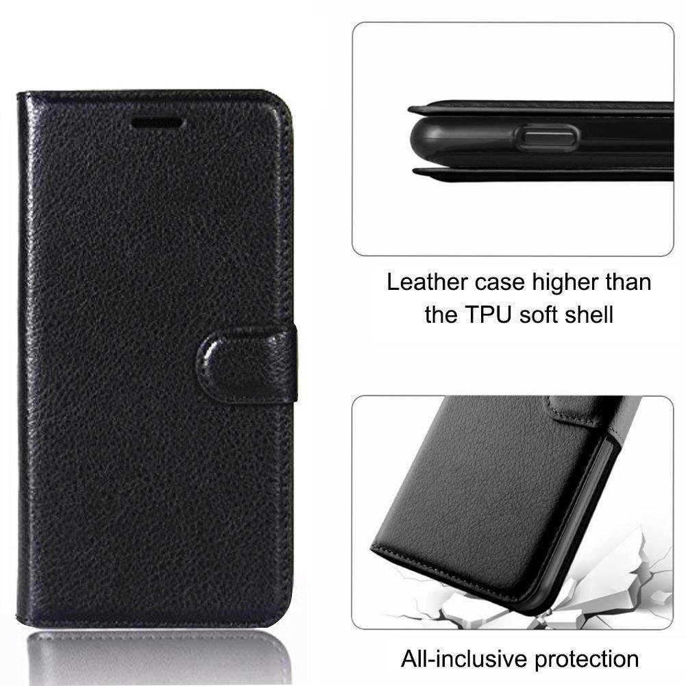 AROC Huawei P20 Lite Schutzhülle, Extrem dünnes Echtleder mit Flipfunktion, Magnetverschluß, Platz für Ausweis und Kreditkarte Etc, klappbar für Standfunktion (Schwarz)