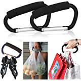 Pack of 2 Grocery Bag Holder Handle Carrier Tool Grip Your Tote,Handy Stroller Hooks, Multi Purpose Hooks, Pushchair Shopping