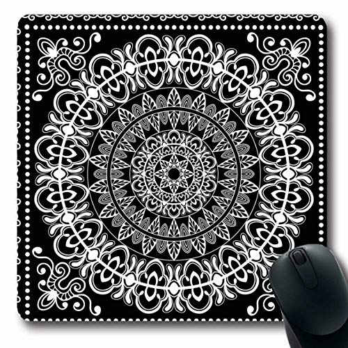 Ahawoso Mousepads Headwear Border Black White Bandana Neck Abstract Ladies Paisley Modern Artistic Ascot Authentic Oblong Shape 7.9 x 9.5 Inches Non-Slip Gaming Mouse Pad Rubber Oblong Mat