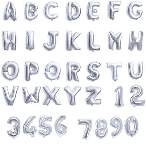 Alphabet Foil Silvers: Self Inflating Happy Birthday Banner Balloon Bunting