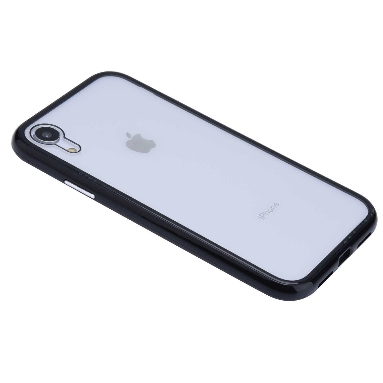 Kompatibel mit iPhone XR H/ülle Transparent Tempered Glass Backcover Handyh/ülle mit Eingebauter Magnet Flip Funktion 360 Grad Schutz Metall Frame Adsorption Sto/ßfest Bumper Case Tasche,Wei/ß