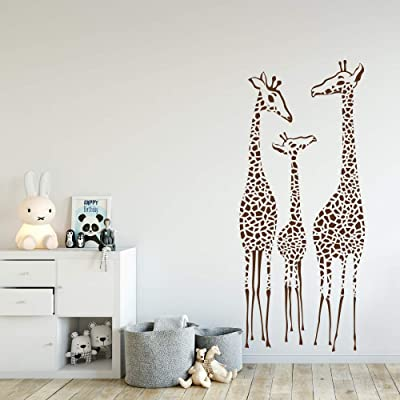 "WonderWallzStore Giraffe Wall Decal Nursery Giraffes Family Wall Sticker Safari Nursery Decal Set of 3 Giraffes Choose Your Color 14"" Wide by 33"" Tall: Kitchen & Dining"