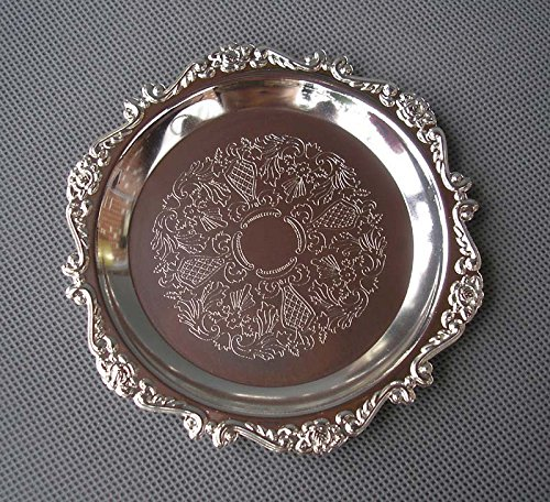 Eaglood 4 Inch Rare Silver Gold Plated Tray Cake Dessert Fruit Pastry Bread Plate Holder Table Decoration Event Wedding Party Dish Tray silver