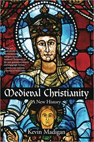 Book cover - white title on black banner over colorful stained glass image of Mary and Jesus