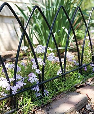 "Panacea Gothic Arch Border Fence, Black, 15""H, Pack of 12"