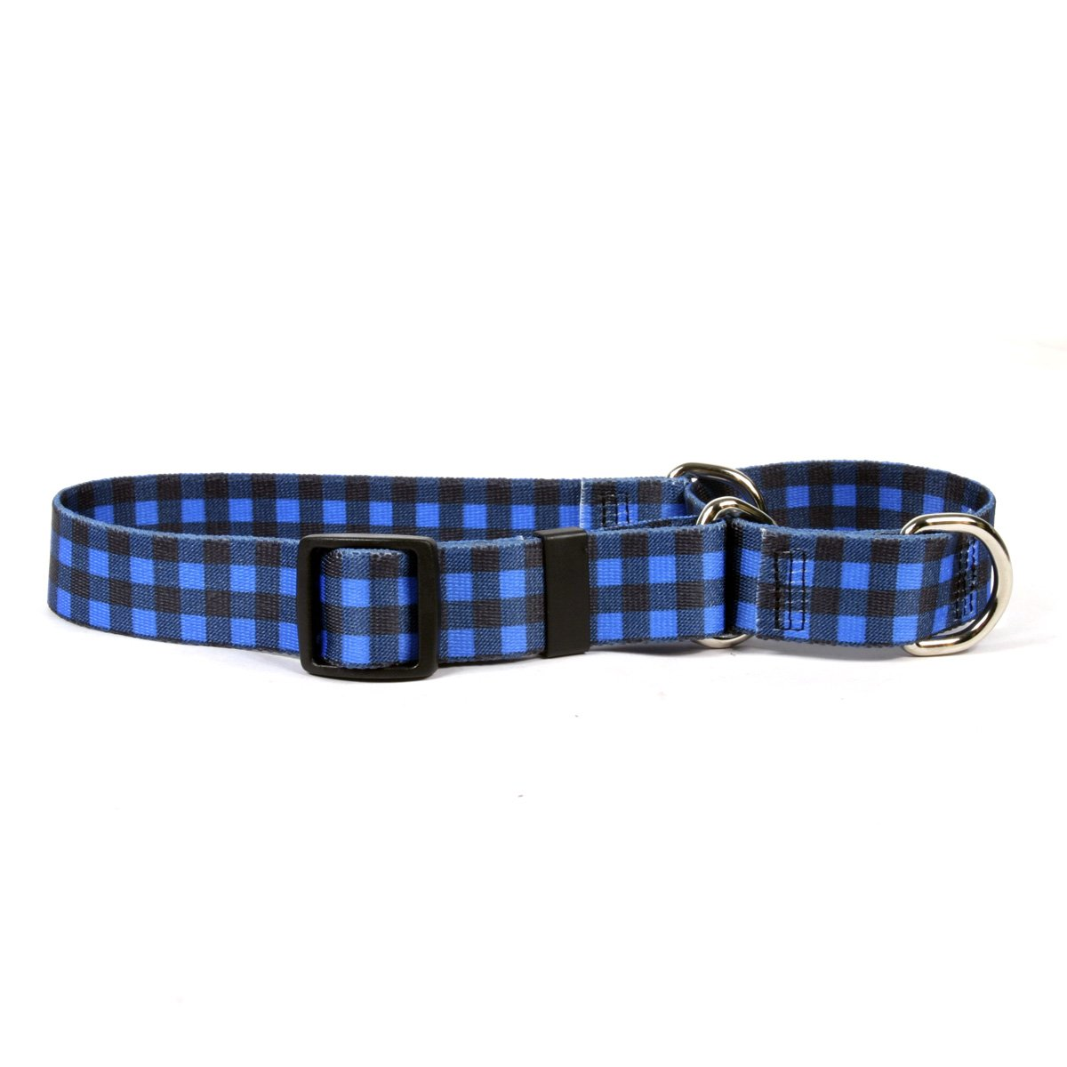Yellow Dog Design Buffalo Plaid Blue Martingale Dog Collar 1'' Wide And Fits Neck 18 To 26'', Large