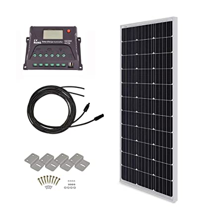 HQST 100 Watt 12 Volt Monocrystalline Solar Panel Kit with 10A PWM LCD  Display Charge Controller