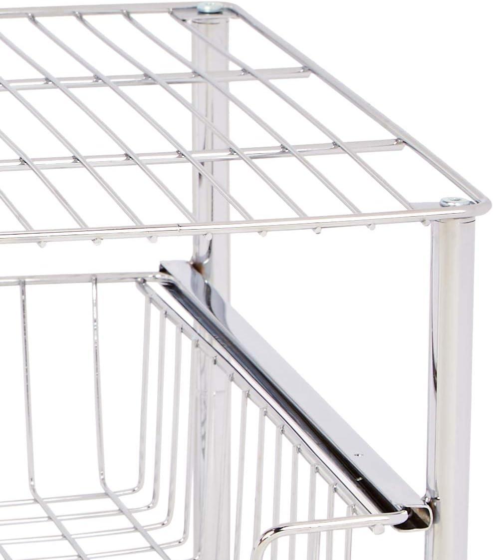 AmazonBasics – Organizador con cesta deslizante apilable, Cromado ...