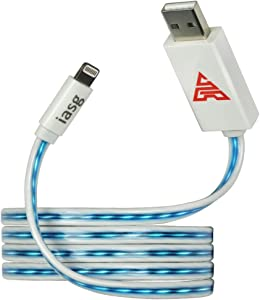 [MFi Certified] iasg 3.3feet/1meter Visible Blue Flowing LED Light up charging cable Lightning to USB Cable Flat 8-Pin Data Sync Cable for iPhone iPad iPod (Blue Light)