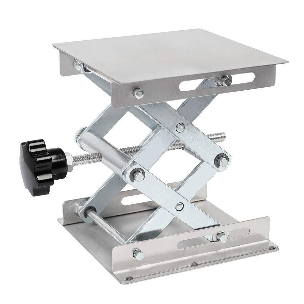150mm Stainless Steel Lab Stand Scissor Platform Lift Lifting Rack Table 6'' x 6''