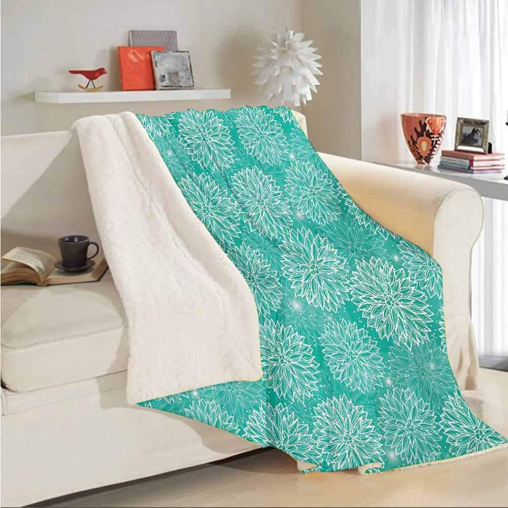 AKLSNTAJNFK Dahlia Flower Baby Blankets for Girls Repeating Figures Fashioned Dots Spots Mother Earth Theme Peony Graphic Image Reversible Plush Fleece Bed Couch Blanket White Teal W59 xL78