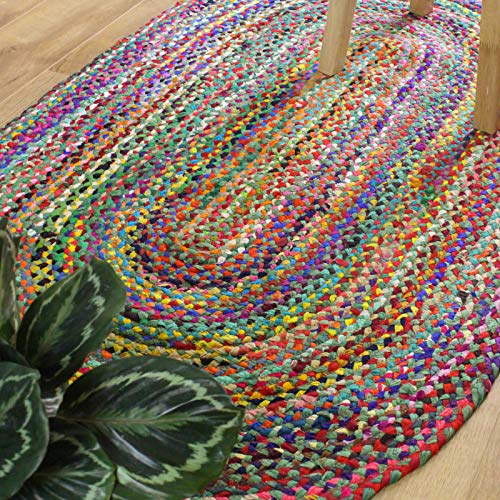 Braided Area Rug - Set Color Base + Multicolor, Handmade, Recycled Cotton (Oval 3x5, Green)