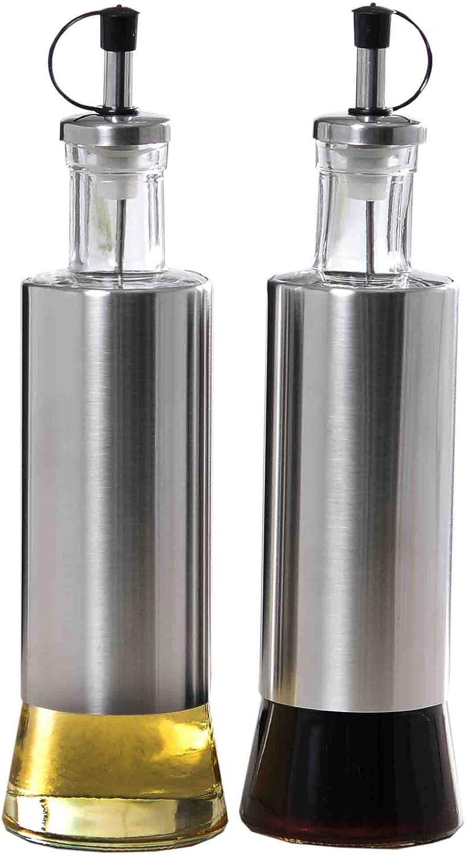Home Basics Collection Oil and Vinegar Set with Dispenser Olive Oil &Vinegar C Essence 2Pc S/S Oil & Vinegar