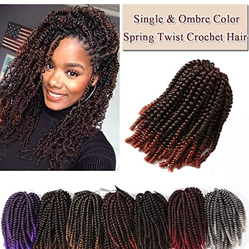 3 Packs Spring Curl Hair Twist Crochet Braids Hair Extensions Fluffy Spring Curls Twist Wavy Braids Hair Bomb Twist Braiding Hair Low Temperature Fiber 30 strands(8'',Natural Black to Auburn Ginger) (Best Temperature To Curl Hair)