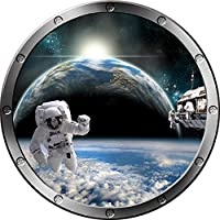"12"" Porthole Instant Space Ship Window View Astronauts Orbit Earth #3 Silver Wall Sticker Kids Decal Room Home Art Décor Graphic Small"