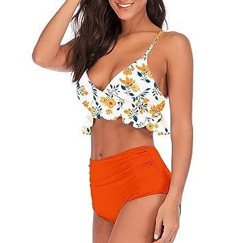 CAIjj Conjunto de bikini de dos piezas para mujer Top con volantes ...