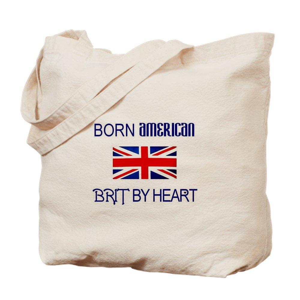 CafePress – Born American、British by Hea – ナチュラルキャンバストートバッグ、布ショッピングバッグ B00PJG0BBI