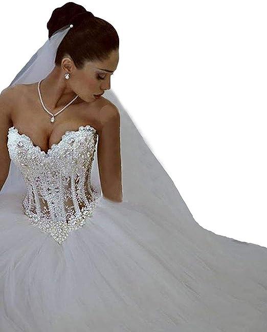 Changjie Mujeres Vestido de novia sin tirantes encaje de tul con rebordear Vestido de novia: Amazon.es: Ropa y accesorios