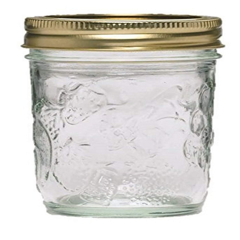Ball Golden Harvest Mason Regular Mouth 8oz Jelly Jar 12PK 'Vintage Fruit Design', RM 8 Oz, Clear