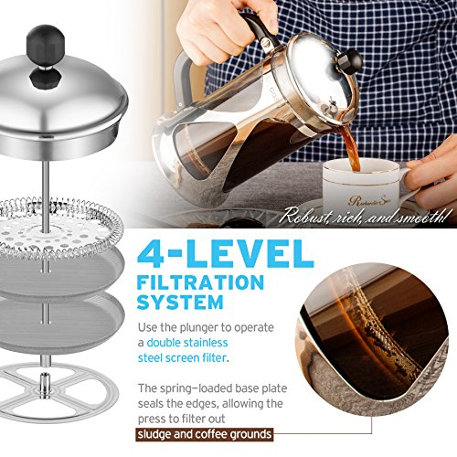 French Press Coffee Maker, Cosori Coffee Tea Press with 304 Grade Stainless Steel, Heat Resistant Borosilicate Glass and 4 Level Filtration (4.45 x 6.18 x 9.12 in)