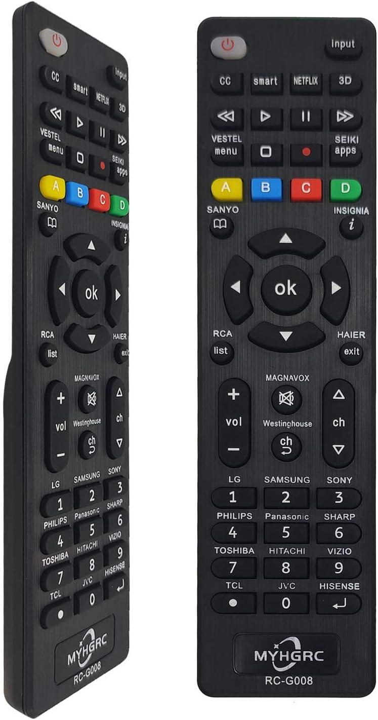 MYHGRC - Universal Remote Control for Samsung, Sanyo, Sony, Hisense, Insignia, Sharp, Panasonic, Philips, Toshiba, Hitachi, LG, Smart TV, Easy Setup