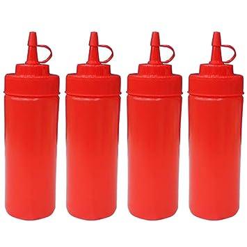 Botella de apreton de cocina - Plástico exprimir condimento botellas dispensadores con tapas para salsa BBQ