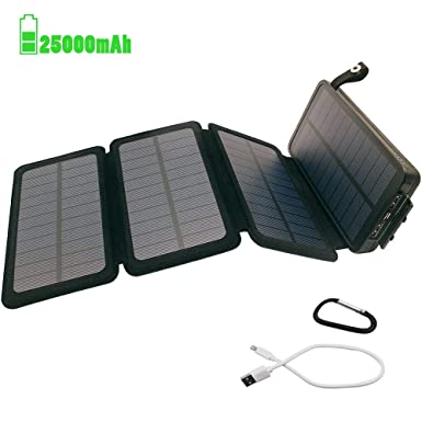 new concept 6a4ad 423b5 Oxsaytee Portable Solar Charger, 25000mAh Solar Power Bank Waterproof Solar  Battery Outdoor Phone Chargers with 3 Foldable Solar Panels External ...
